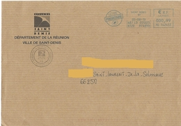 EMA HU 542453 Réunion Sur Enveloppe Mairie Saint Denis - Marcofilia (sobres)