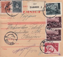 Croatia WWII NDH 1942 Parcel Card Zagreb - Sarajevo, Mixed Franking Franco, Official And War Tax Stamps - Kroatien
