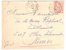 MODANE à CHAMBERY  Lettre Convoyeur Type 2 Ob 29/7/ 1903 15 C Mouchon Yv 125 - Railway Post