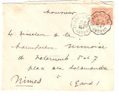 CHAGNY - EPINAC  - ETANG Lettre Convoyeur Type 2 Ob 10/11/ 1901 15 C Mouchon Yv 117 - Railway Post