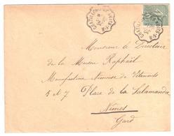 CHATILLON à NUITS S R Lettre Convoyeur Type 2 Ob 26/12/ 1904 15 C Mouchon Yv 125 - Railway Post