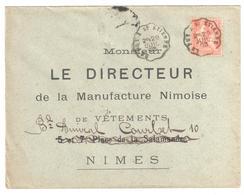 LE PUY à St ETIENNE Lettre Convoyeur Type 1 Ob 29/7/ 1903 15 C Mouchon Yv 125 - Railway Post