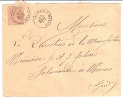 GRENOBLE à VALENCE Lettre Convoyeur Type 1 Ob 21/4/ 1902 15 C Mouchon Yv 117 - Railway Post