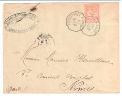 HAZEBROUCK à LILLE Lettre Entête VILLARD CASTELBON Convoyeur Type 2 Ob 23/9/ 1903 15 C Mouchon Yv 125 Armentières Nord - Railway Post