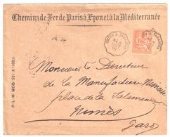 CETTE à TARASCON Lettre Convoyeur Type 1 Ob 5/10/ 1901 15 C Mouchon Yv 117 - Railway Post