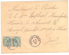 CHALONS/SAONE à BOURG Lettre Convoyeur Type 2 Ob 8/4/ 1906 15 C Semeuse Lignée Vert Yv 130 - Railway Post