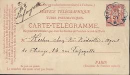 Entier Carte Télégramme Tubes Pneumatiques Sage 50ct Rose Storch N1 Cote 100 € CAD Bleu Pneu Paris 21 Oct 79 - Pneumatiques