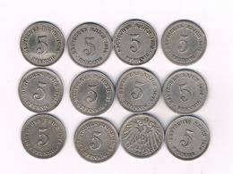 5 PFENNIG LOT 1874-1918 DUITSLAND /9176// - [ 2] 1871-1918 : Empire Allemand