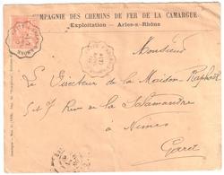 CETTE à ARLES S RHONE Lettre Entête Chemin Fer CAMARGUE Convoyeur Type 1 Ob 27/4/ 1902 15 C Mouchon Yv 117 - Posta Ferroviaria