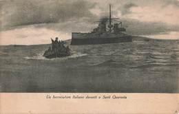 Guerre 1914 1918 Croiseur Italien En Albanie Saranda Cachet 520 Tresor 1917 Incrociatore Italiano Davanti Santi Quaranta - Guerre 1914-18
