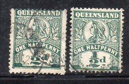 XP4466 - QUEENSLAND 1899,  Yvert Serie N. 88 Usato : 2 Valori (2380A) . - 1860-1909 Queensland