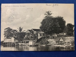 Postcard  Circulated Bluefields 1910 With  Overprint Local Stamps ( B Dpto. Zelaya ) - Nicaragua