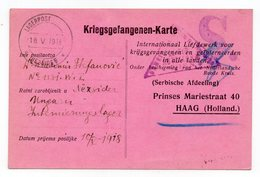 18.05..1918, WWI, HUNGARY, CAMP NEZSIDER, CENSORED, POW CARD TO HAAG, RED CROSS, HOLLAND, SERBIAN SECTION - Briefe U. Dokumente