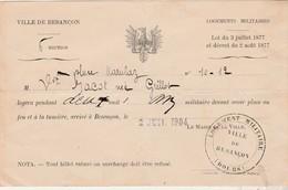 1904 / Logement Militaire / Droit Au Feu ( Foyer, Logement) Et à La Lumière / Ville De Besançon 25 Doubs - Documents