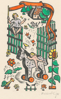 Geboortekaartje Arthur Alphons Maria Schallart 1946 - Kleingrafiek Gesigneerde Houtsnede Dora Geldzahler (1909-2000) - Geburt & Taufe