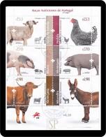 Portugal 2019 Raças Autóctones Galinha Pedrês Pollo Poulet Chicken Sobrescrito Carimbo 1 Dia Premier Jour Pig Cochon - Briefmarken