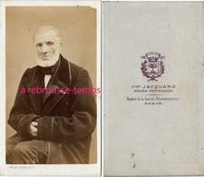 CDV Homme Au Regard Perçant-photo Jacquard Opticien Photographe Membre De La Société D'encouragement à Sedan - Old (before 1900)