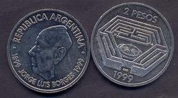 Argentina 2 Pesos 1999 AUNC < Jorge Luis Borges - Argentine