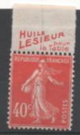 France, Timbre De Carnet Avec Bande Publicitaire. N°134** (Dallay), Pub: LESIEUR - Publicidad