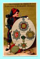 Chromo A. Gailly Manifacture De Chaussures. Soldat, Uniforme, Medailles, Décorations. Turquie. Fond Doré. - Cromos