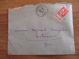 """50c Type Paix Pub """"L'art Vivant """" Sur Env Cachet Tirete Mouchan Gers 1935 - Marcophilie (Lettres)"""