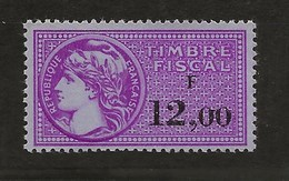 FISCAUX FRANCE SERIE UNIFIEE N°445  12F00 TIMBRE NEUF (**) - Revenue Stamps