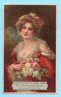 Chromo Format Carte Postale. Crème Simon. N° 12 De La Collection. Buste De Femme. Premières Roses. A. Matignon. - Cromos