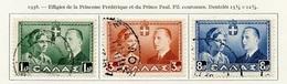 Grèce - Griechenland - Greece 1938 Y&T N°435 à 437 - Michel N°408 à 410 (o) - Mariage Du Prince Paul - Oblitérés