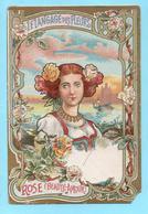 Chromo Didactique, Non Publicitaire. Le Langage Des Fleurs. Rose: Beauté Amour. Buste De Femme - Cromos