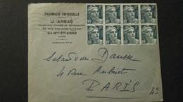 Rare Enveloppe Affranchie De 8 Timbres Marianne De Gandon 1952 - Lettres & Documents