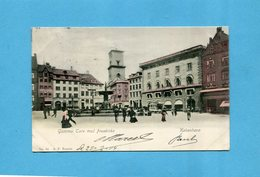 KOBENHAVN-Gammel Tory Med Fruekirke- La Grand Place Animée-la Fontaine Et Tramway à Chevaux-a Voyagé En 1904 - Dinamarca