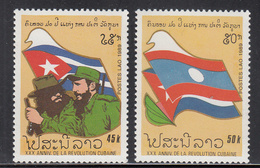 1989 Laos Cuba Castro Complete Set Of 2 MNH - Laos