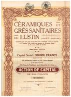 Titre Ancien - Céramiques Et Grès Sanitaires De Lustin - Société Anonyme -Titre De 1928 - - Industrie
