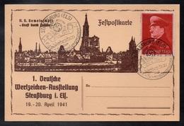 STRASBOURG - ALSACE - III REICH - OCCUPATION / 1941 OBLITERATION DE PROPAGANDE SUR CARTE ILLUSTREE (ref 717c) - Allemagne