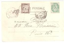 MONACO MONTE CARLO Carte Postale 27 2 1903  Affranchie 5 C Blanc Yv 111 Non Oblitérée TAXE Paris 10 C Banderole Yv T 29 - 1900-29 Blanc
