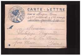 Guerre 1914 1918 Carte Lettre Femme En Médaillon Magne Louis 42eme Colonial Pour Chasse Isere - Marcophilie (Lettres)