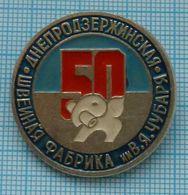 USSR / Badge / Soviet Union / UKRAINE. Sewing Factory 50 Years. Elephant. Dneprodzerzhinsk. - Animali