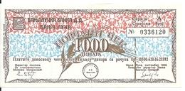 BOSNIE HERZEGOVINE 1000 DINARA 1992 VF MILITARY CHECK - Bosnia Erzegovina