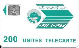 CARTE-PUCE-OPT-DJIBOUTI-LOGO-200U-SC5-V° Ge24085-R/V° Mat-Vert Pale-TBE - Djibouti