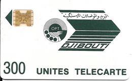 CARTE-PUCE-OPT-DJIBOUTI-LOGO-300U-SC4Ob-V°4 Imp 8709 En Bas A Droite-R/V° Mat-Vert Foncé-TBE - Djibouti