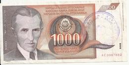 BOSNIE HERZEGOVINE 1000 DINARA ND1992 VF P 2 A - Bosnia And Herzegovina