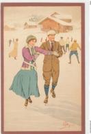 Illustrateur Pellegrini N° 112 - Couple En Patins à Glace - Chalet - Otros Ilustradores