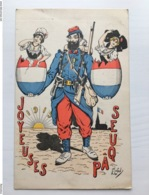 Ak Cp Joyeuses Paques Oeuf 1915 Poilu Soldat Artist Plafon? Lafon? - Weltkrieg 1914-18