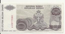 BOSNIE HERZEGOVINE 500 MILLION  DINARA 1993 VF P 155 - Bosnia Y Herzegovina
