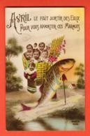 KAK-42  Avril, Le Fait Sortir Des Eaux Bébés. Non Circulé - 1 De April (pescado De Abril)