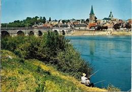CPSM. LA CHARITE SUR LOIRE. VUE GENERALE. PÊCHEURS. 1968. - La Charité Sur Loire