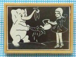 USSR / Badge / Soviet Union / RUSSIA. Cartoon Girl And Elephant. Soyuzmultfilm, 1969 - Dieren