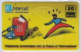 INTERCALL  - Cabine Intercall Fond Vert-jaune - 50 F - Tirage : ? Ex - Code Gratté - Voir Scans - Frankrijk