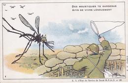 Carte En Franchise Militaire 1914 1918 Anti-paludéenne De L'armée D'orient - Des Moustiques Te Garderas - Marcophilie (Lettres)
