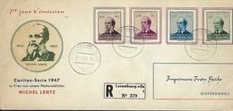 Luxembourg  -  FDC   4.12 1947   CARITAS-SERIE 1947  Lettre Recommandé - Imprimerie Fredy Beicht , Differdange - FDC